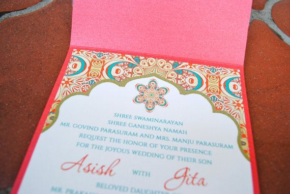 Hindu Wedding Invitations Toronto: Persimmon & Turquoise Indian Wedding Invitation By