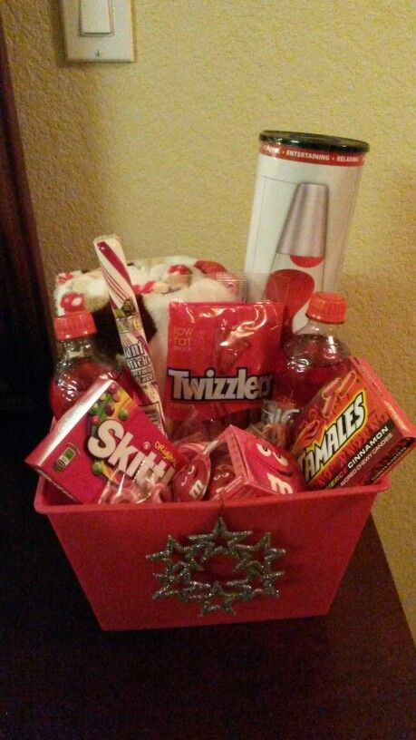 Teen Gift Basket Idea Lava Lamp And Holiday Blanket From Walmart Bucket Snacks The Dollar Tree Total Cost About 20