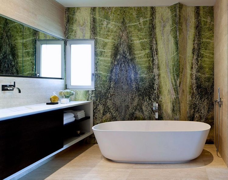 Wandanstrich badezimmer ~ Wandfarbe grün badezimmer wandgestaltung weiß interiordesign
