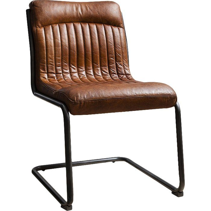 Chisholm Genuine Leather Upholstered Dining Chair With Images Leather Chair Upholstered Dining Chairs Dining Chairs