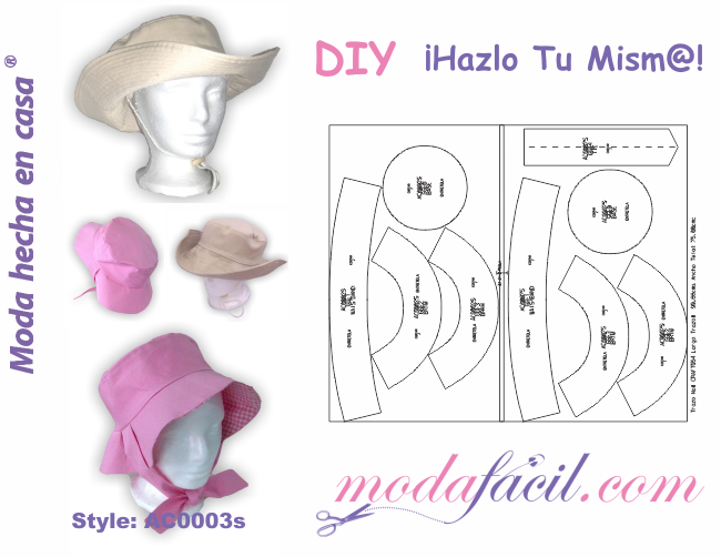 Descarga gratis los patrones de Sombrero Casual Reversible para ...