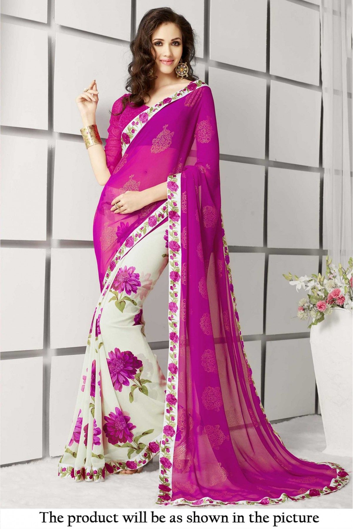 833375cc48e Georgette Printed Saree In Off White and Pink Colour It Comes With Matching  Blouse.It Is Crafted With Printed Work.