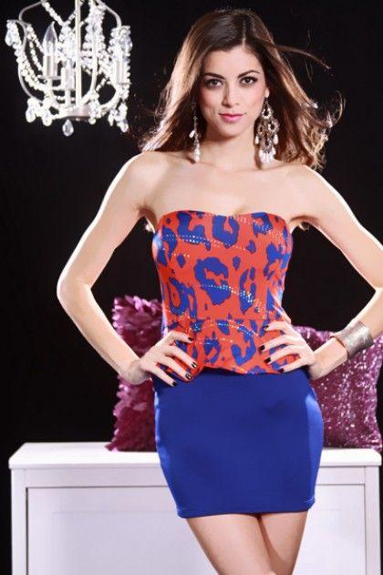 ROYAL BLUE ORANGE PRINTED STRAPLESS RUFFLE WAIST PEPLUM DRESS