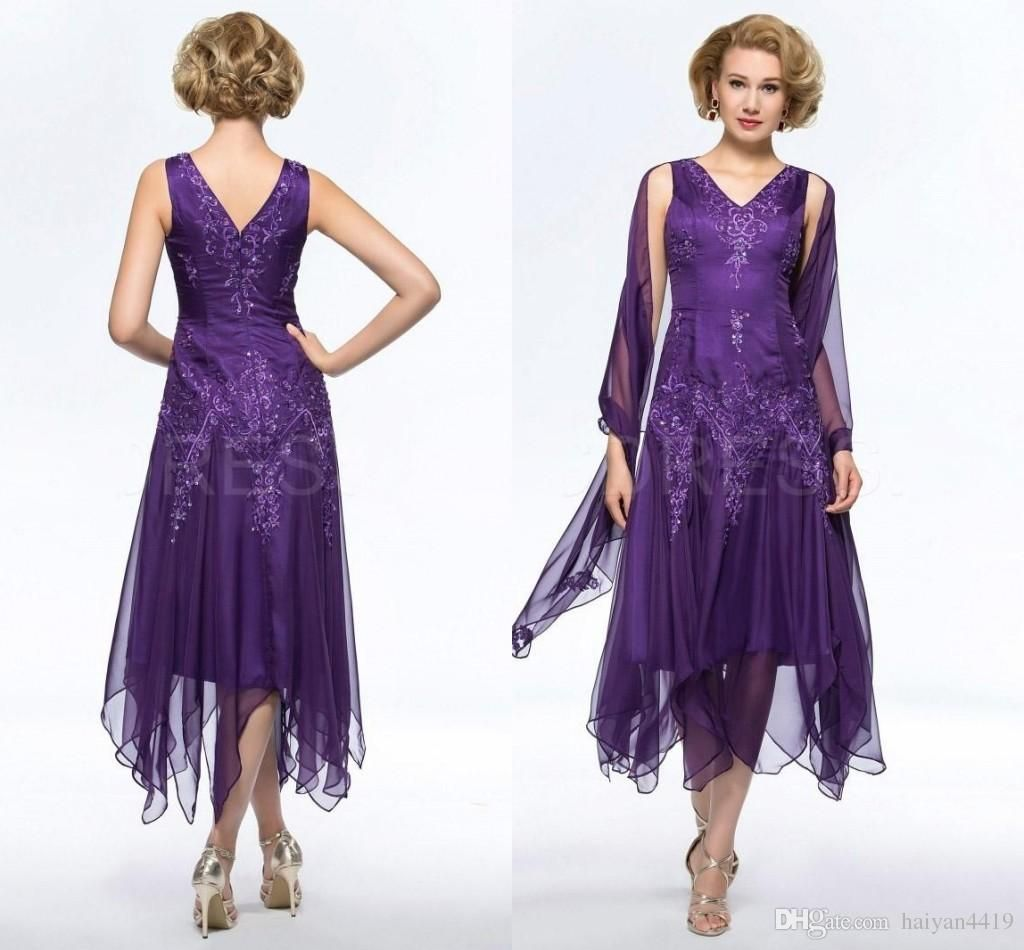 2016 vintage mother of the bride dresses v neck lace for Purple plus size dresses for weddings