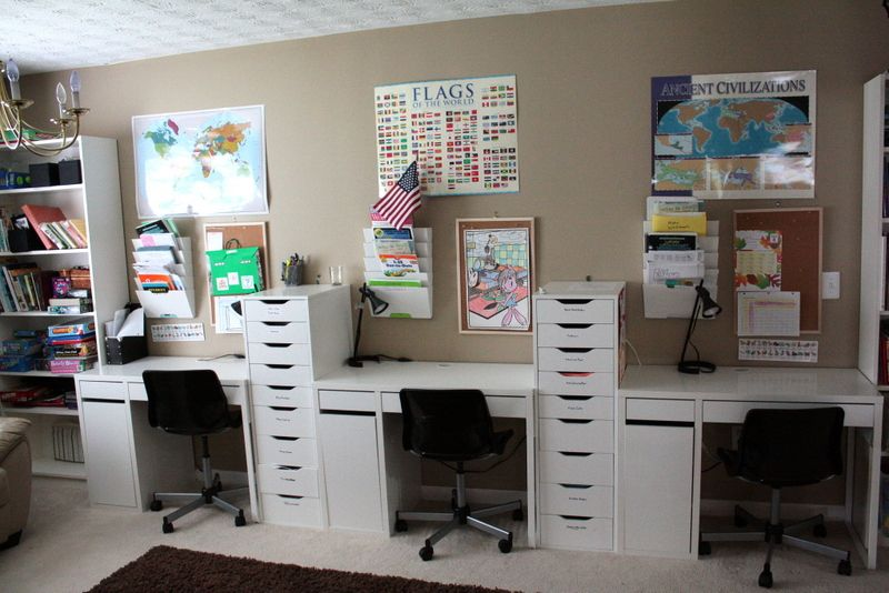 Popular Of It39s Just Laine Brandon And Rebecca39s Home School Room Tour Throughout Homeschool Des Ikea Alex Drawers Kids Desk Organization Home Office Storage