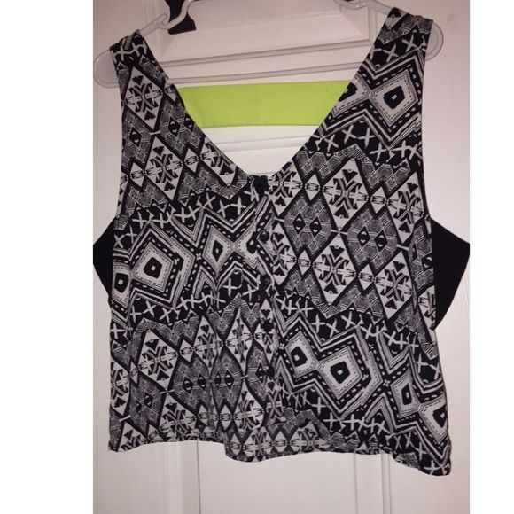 Button up crop top Super cute .....size large ! Bought it a few weeks ago! Tried it on was too big ! Tops Button Down Shirts