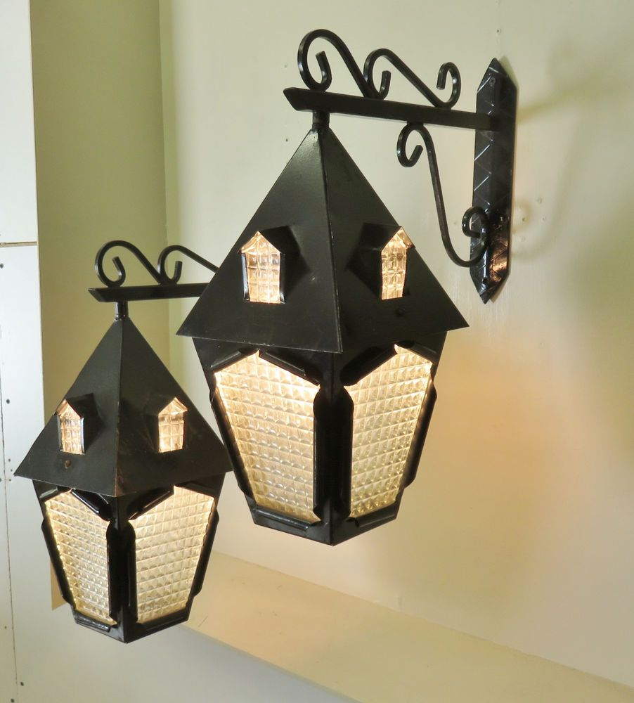 RARE PAIR VINTAGE FRENCH WROUGHT IRON WALL LANTERNS SCONCES LIGHTS LAMPS MAISON