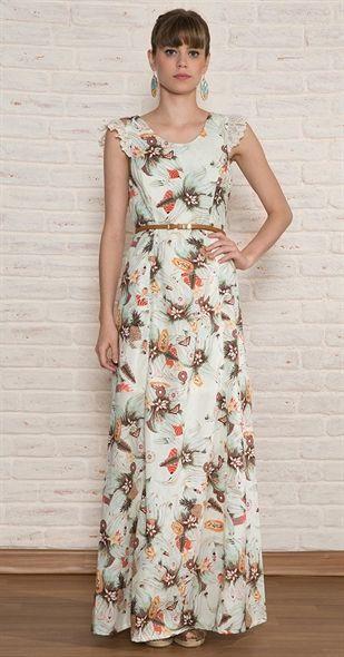 c97b1942e5e4 Vestido Longo Abacaxi | Moda, Looks e tal | Vestidos, Vestidos ...