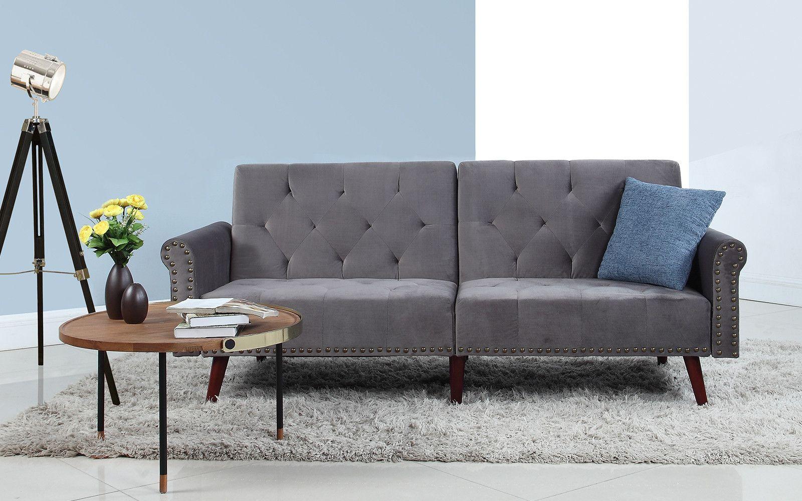 Fine Becca Classic Velvet Nailhead Trim Sleeper Sofa For The Pabps2019 Chair Design Images Pabps2019Com