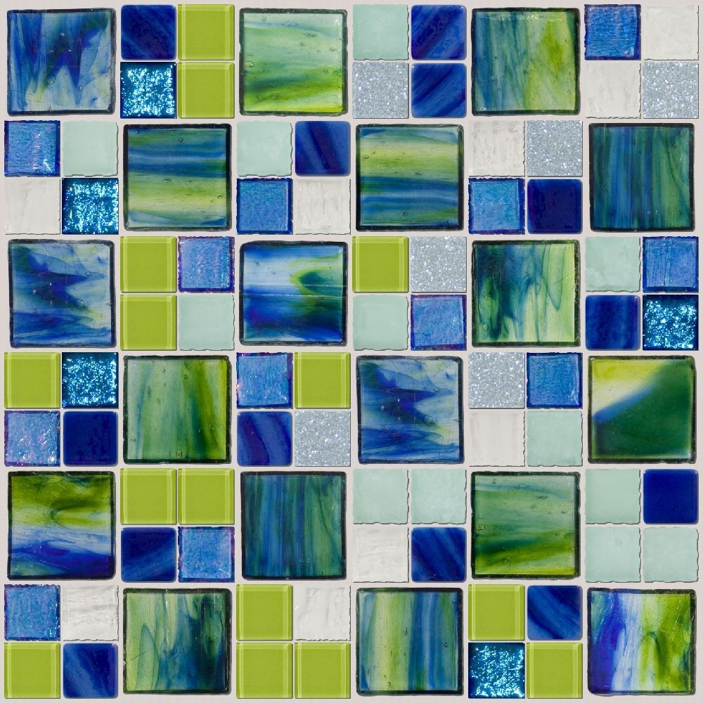 Bikini Bottom! One inch and two inch square glass tiles in a ...