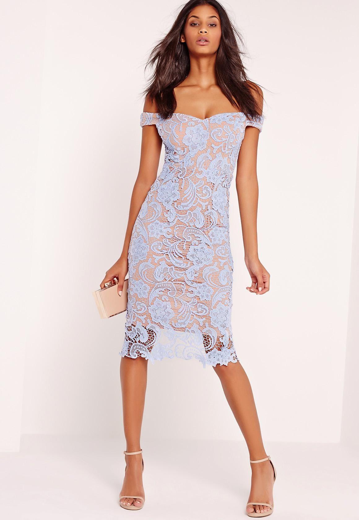 Missguided - Bardot Lace Midi Dress Blue