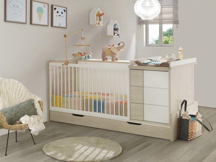 Lit bébé combiné évolutif SACHA 70x140cm 5 en 1 bibliothèque au ...
