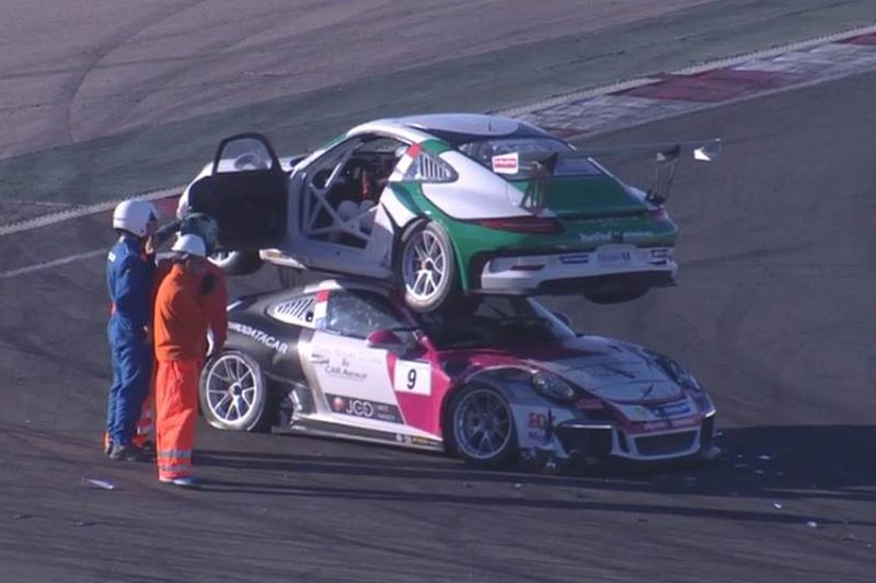 Jules Gounon And Joffrey De Narda Crash At Navarra During The