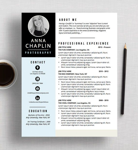 CREATIVE Resume Template CV Template + Cover Letter Microsoft - graphic design cv example