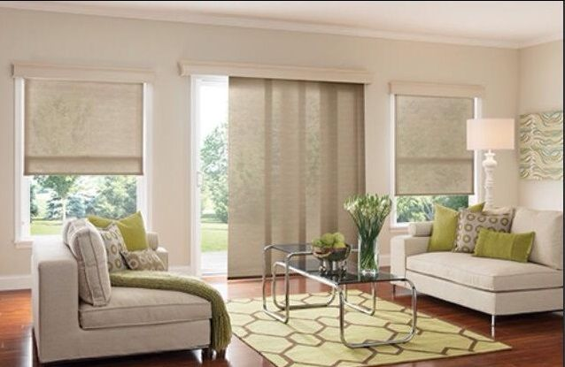Coordinating Panel Track And Roller Shades Sliding Glass Door Ideas Window Treatments