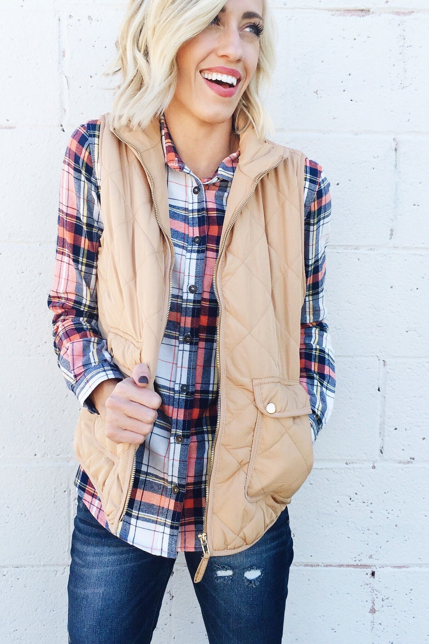 Neutral Vest You Can Wear With Any Plaid Shirt With