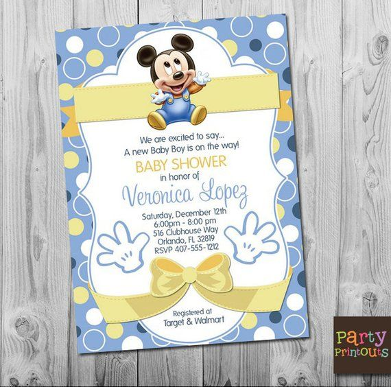 Baby Mickey Baby Shower Invitation Blue Mickey Mouse Baby