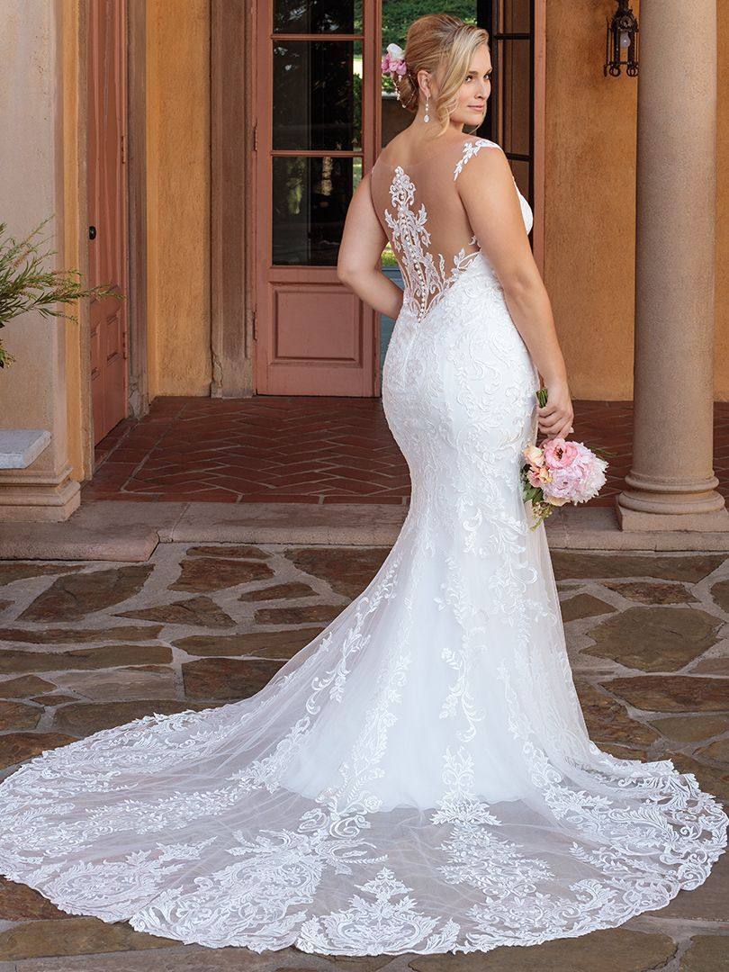 ec75af9e853 This lace fit and flare wedding gown with Illusion straps and an illusion  back is simply stunning!