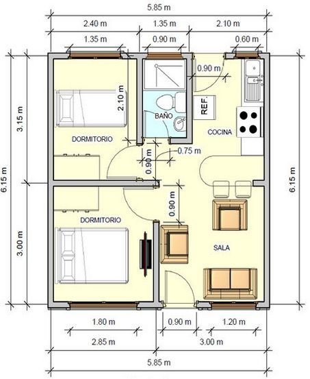 Plano de casa con medidas 36m2 2 dormitorios projetos for Planos casas pequenas