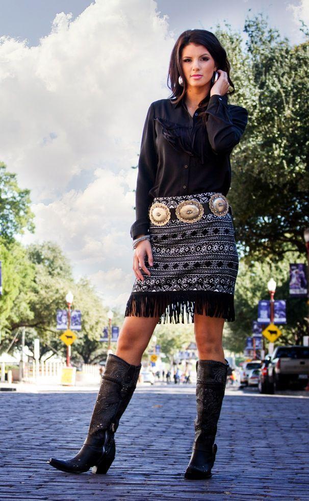 Black Blouse And White Tribal Print Fringe Mini Skirt Metal Belt