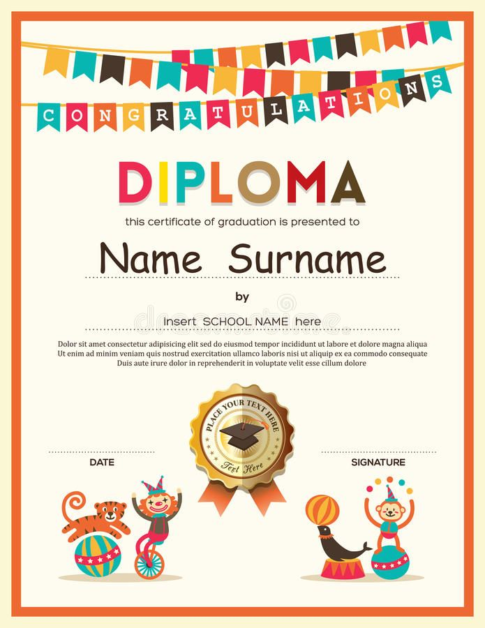 Photo about preschool elementary school kids diploma certificate photo about preschool elementary school kids diploma certificate template with bunting flags background design illustration of award celebration yelopaper Images