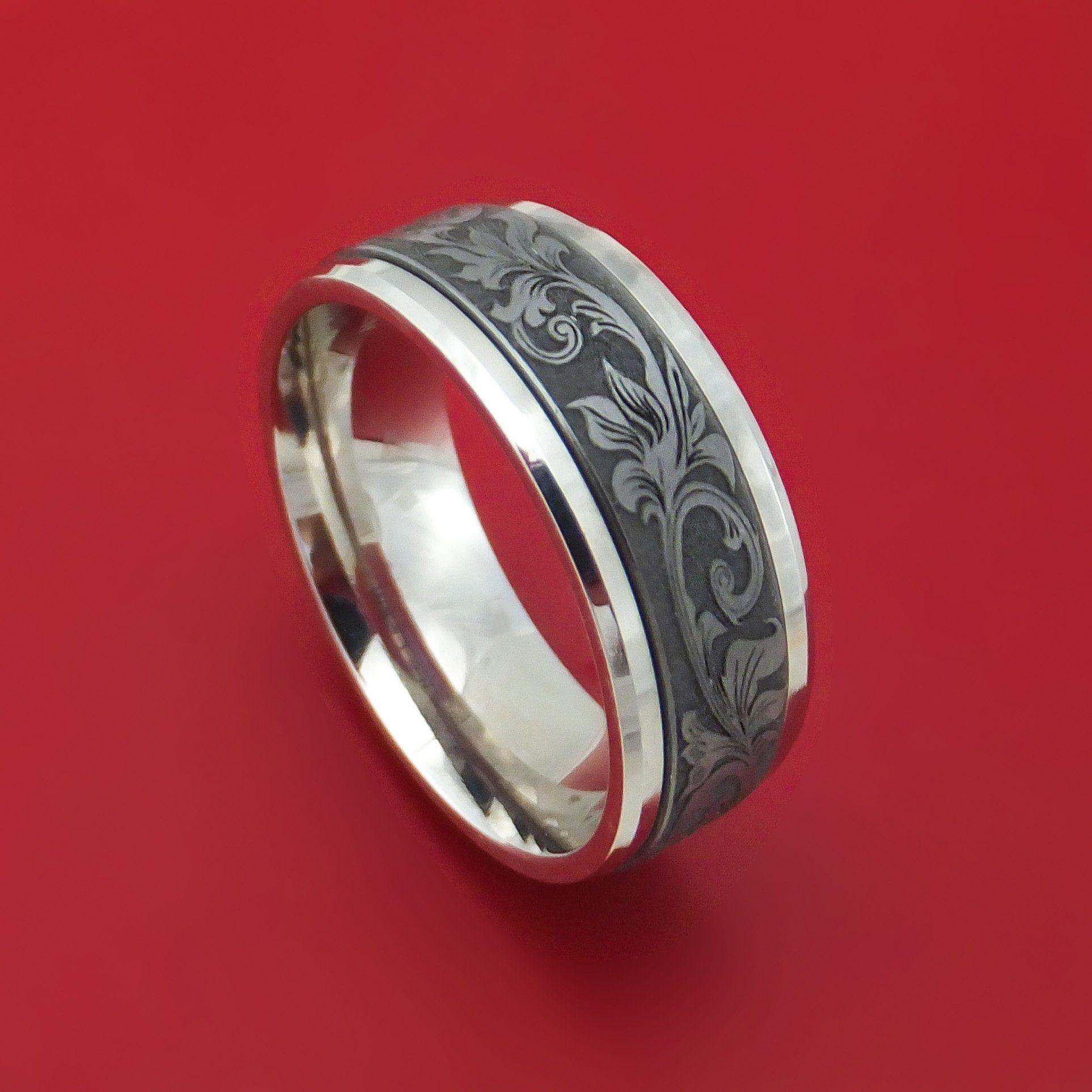 14k white gold and floral design tantalum ring 14k white