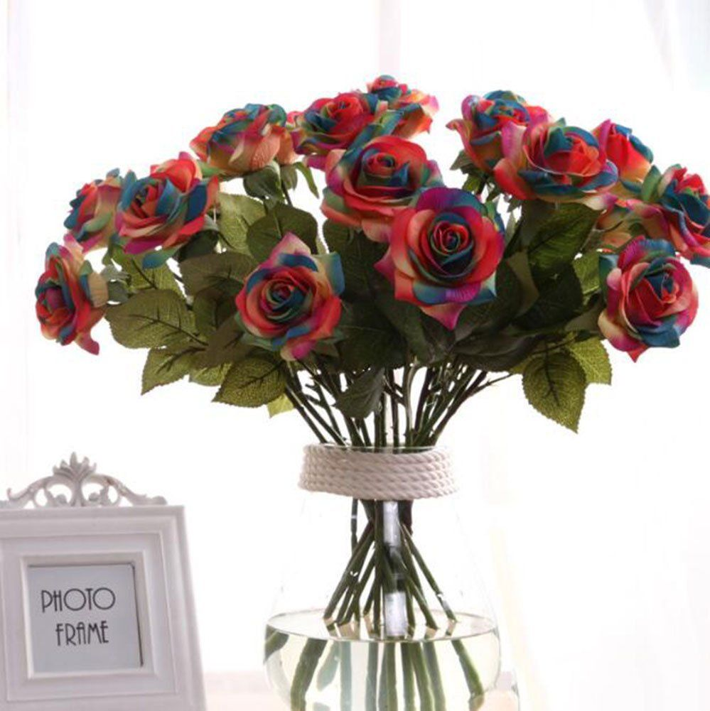 Leegoaltm wholesale artificial silk latex rose flowers wedding leegoaltm wholesale artificial silk latex rose flowers wedding bouquet bridal decoration bundles real touch flower bouquets realistic flower junglespirit Gallery