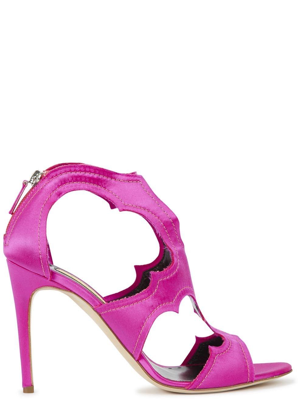 68ec1d9a45f0 Rupert Sanderson hot pink satin sandals http   www.harveynichols.com ...