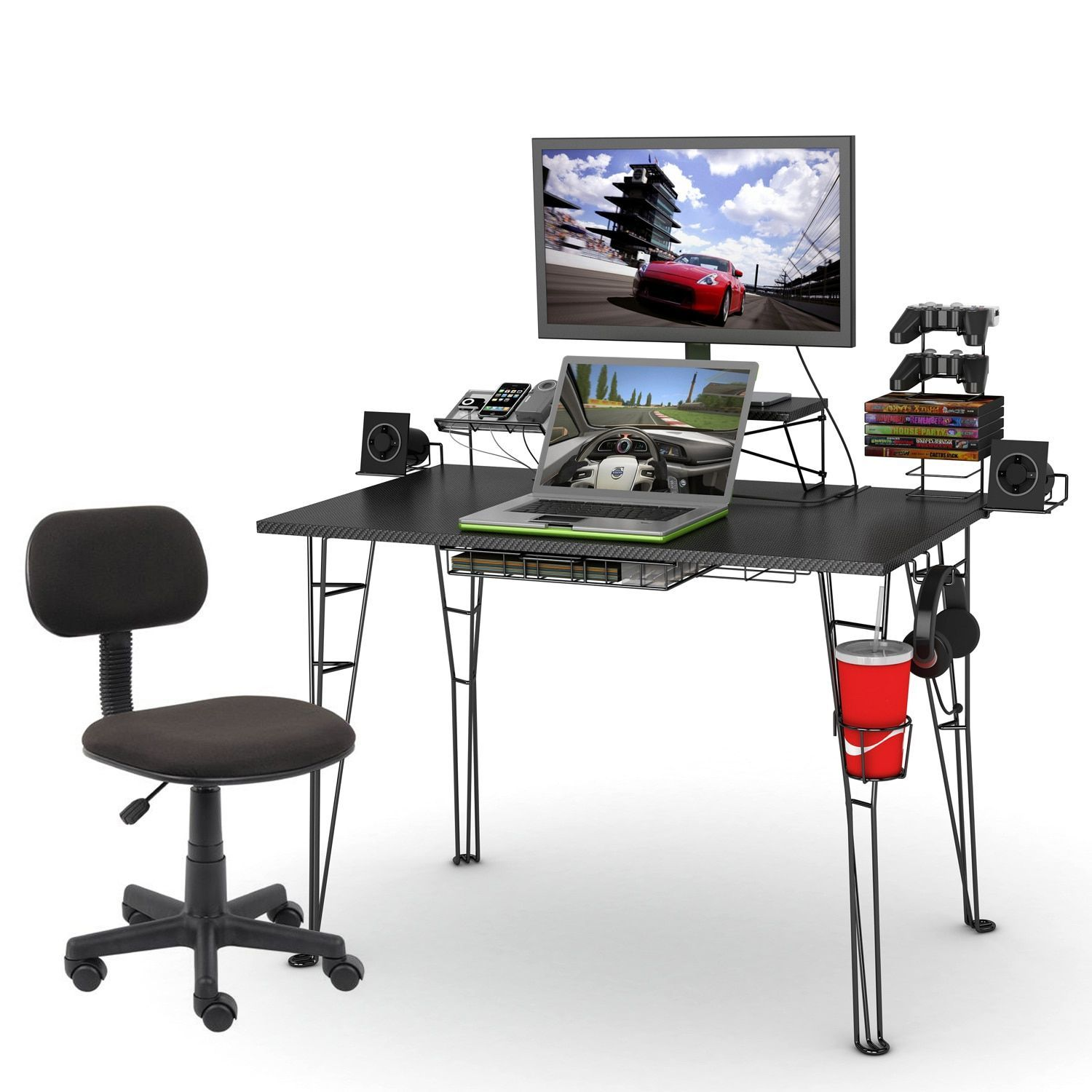 Kabelmanagement Schreibtisch Darliving Gaming Desk And Task Chair Geek Desk Pinterest
