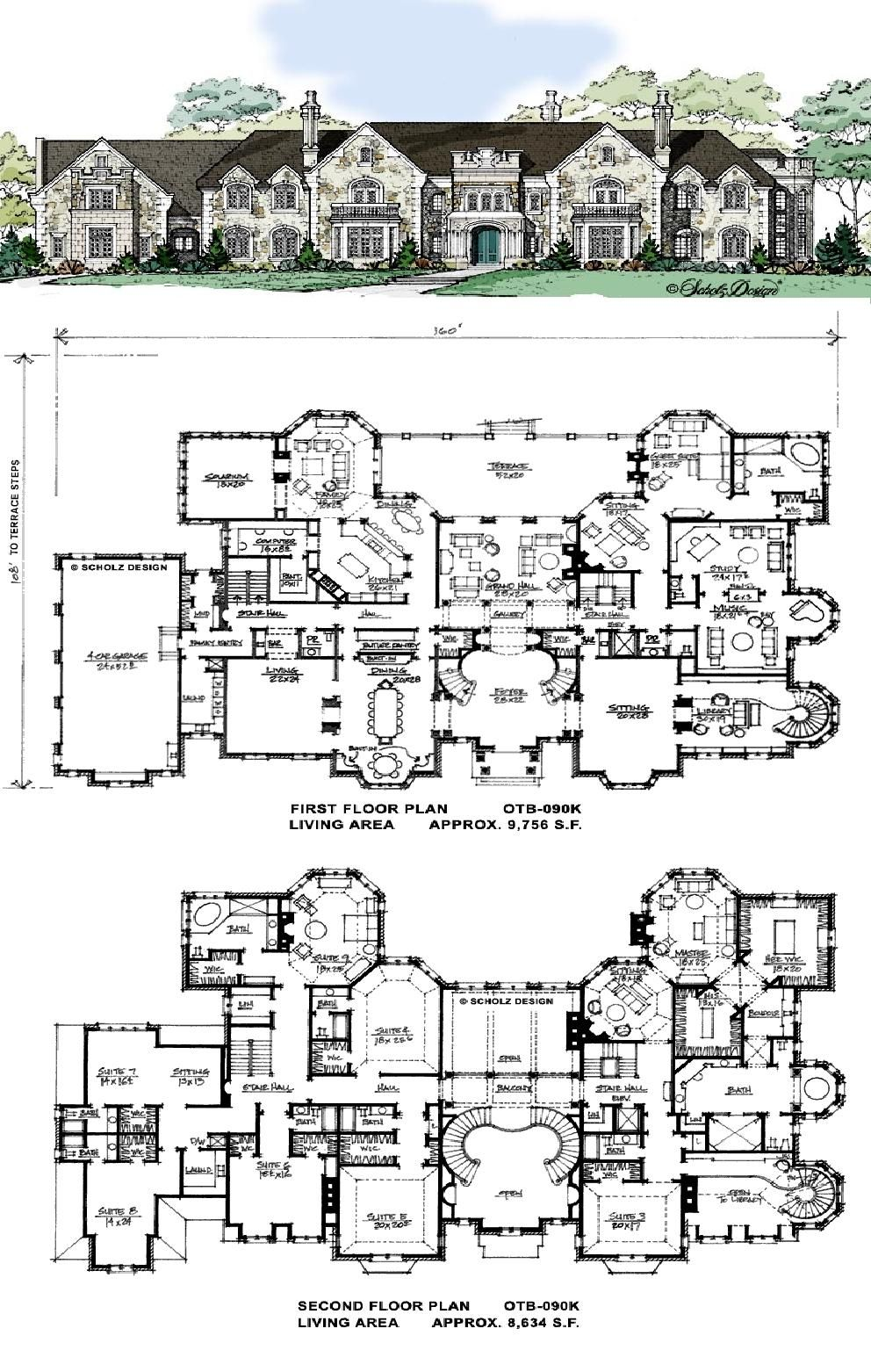 Love The Flowing Symmetry Defined Rooms Including Study Two Story Library Music Room State Dinnin House Plans Mansion Mansion Floor Plan Luxury House Plans