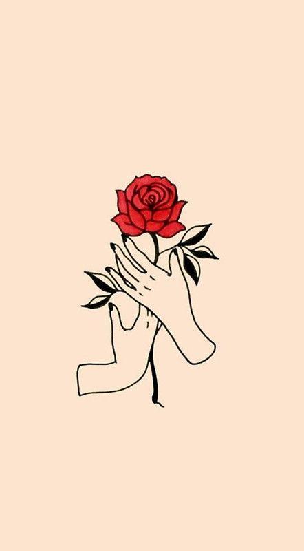 Minimalism Rose Tattoo Style Art Sticker By Arealprincess Cute