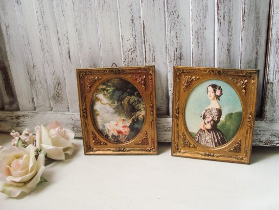 Vintage Gold Framed Art Italy French Women by WillowsEndCottage