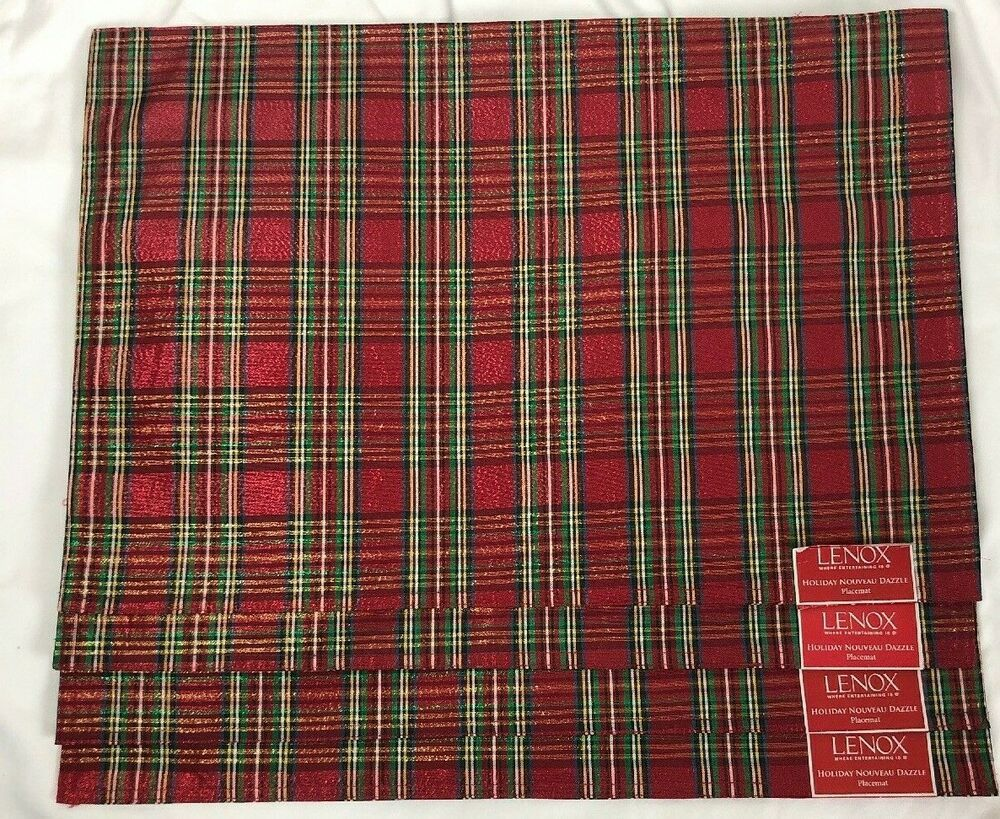 4 Lenox Holiday Nouveau Dazzle Tartan Placemats Place Mats Rectangular New Lenox Christmas Decorations Tartan Placemats
