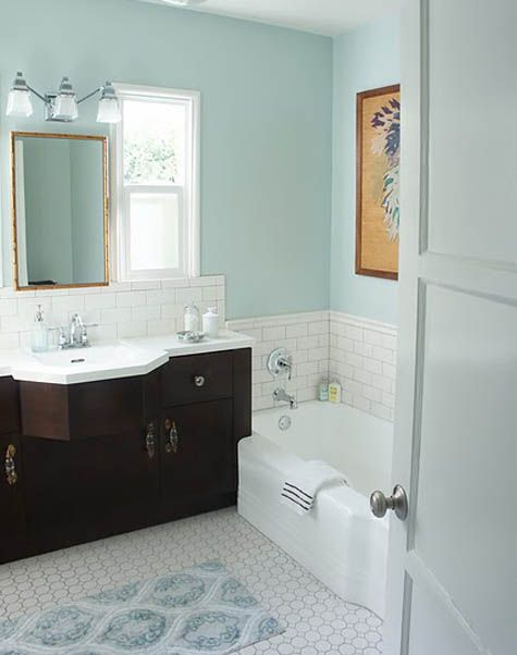 Color Combo Light Floors Dark Vanity Pale Blue Walls