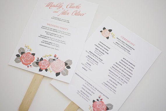 pink rose wedding program template printable by threeeggsdesign 5000