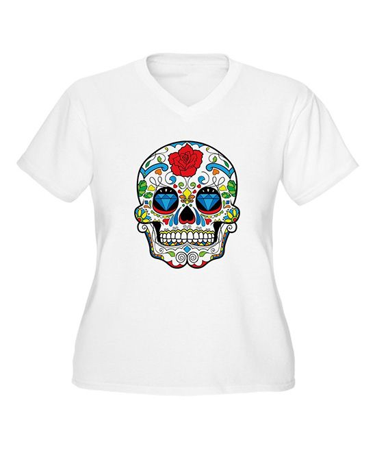 White Sugar Skull V-Neck Tee - Plus | zulily #streetstyle