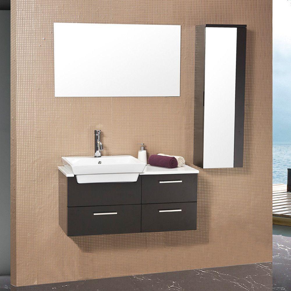 Fresca caro espresso modern bathroom vanity w mirrored side cabinet