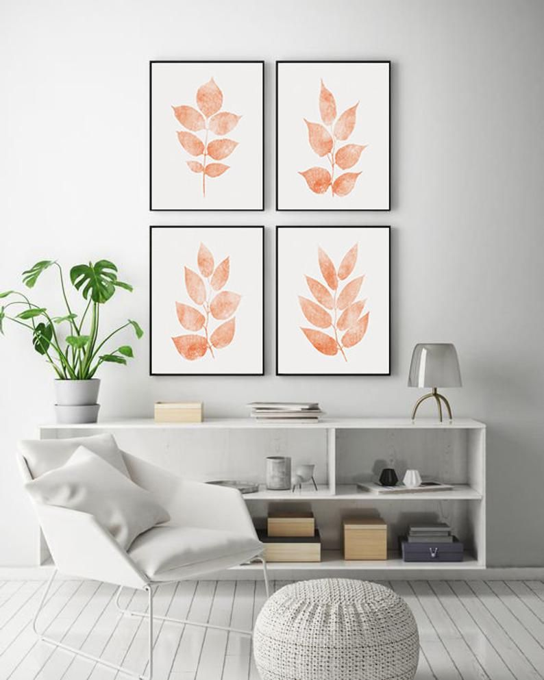 Living Room Wall Decor Set Of 4 Gallery Wall Prints Coral Color