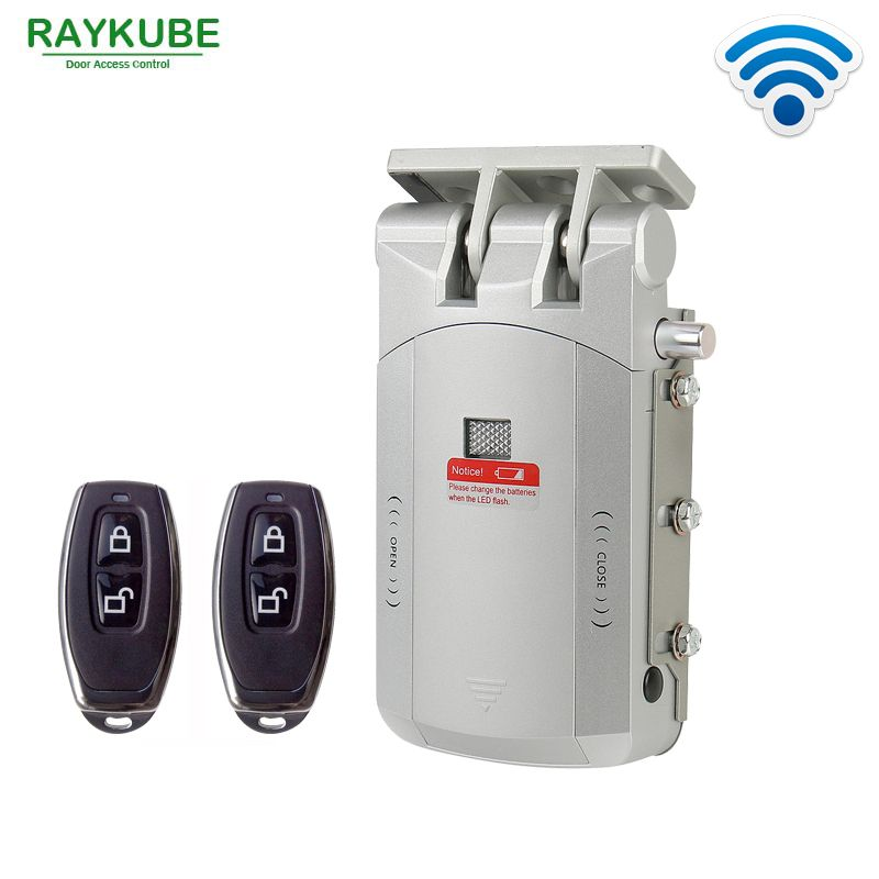 Promo Raykube Electric Door Lock Wireless Control With Remote Open Close Smart Security Locks