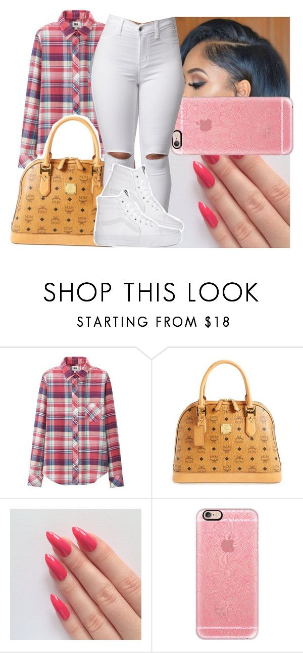 """""""Ma old set wanted to remake it. 🍒"""" by deasia-still-thugin-honey ❤ liked on Polyvore featuring beauty, Uniqlo, MCM and Casetify"""