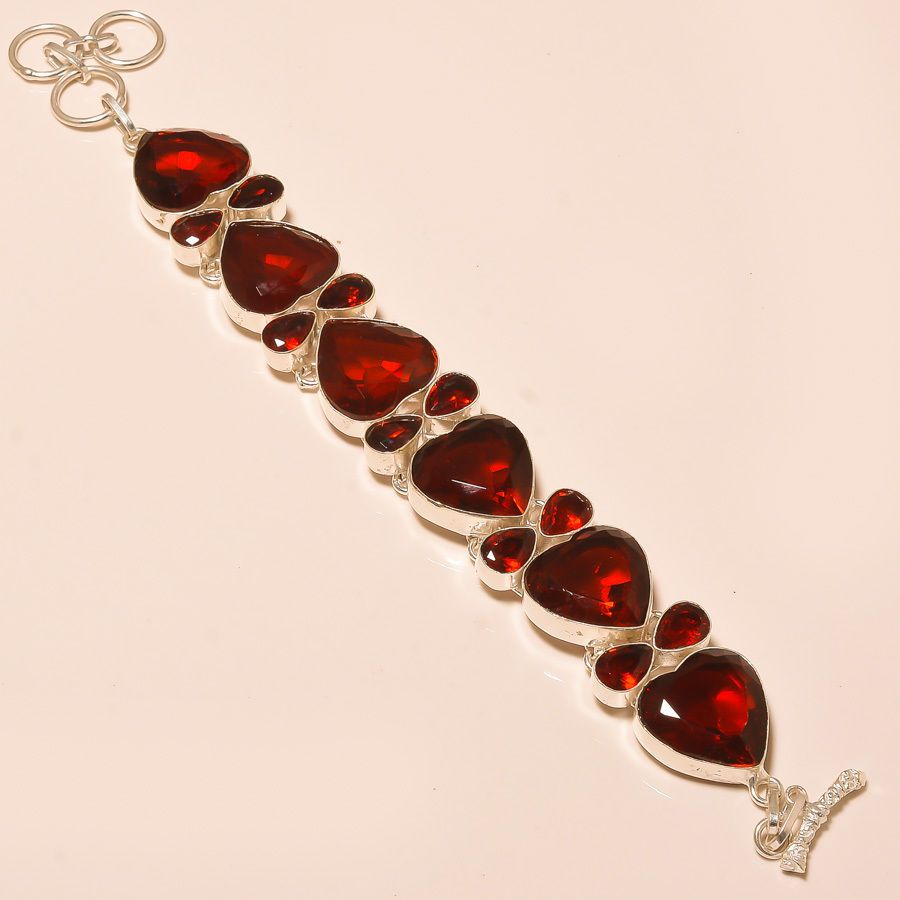 DAZZLING FACETED MOZAMBIQUE GARNET - 925 SILVER JEWELRY BRACELET  #Unbranded
