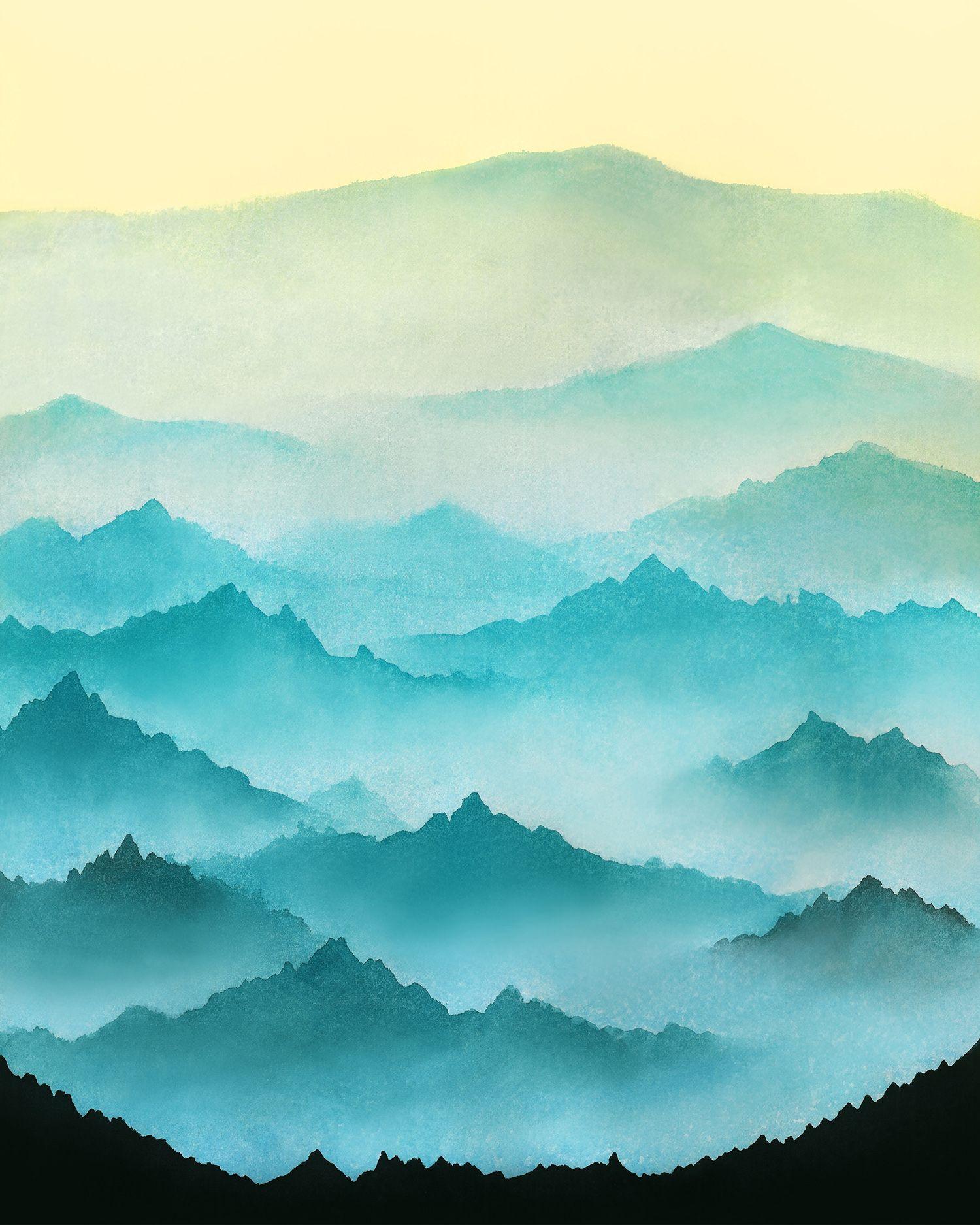 Watercolor printable art minimalist modern print Mountains ...