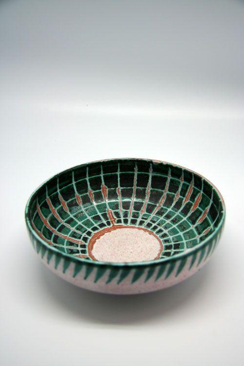 C. Voltz; Glazed Ceramic Bowl for Vallauris, 1950s.