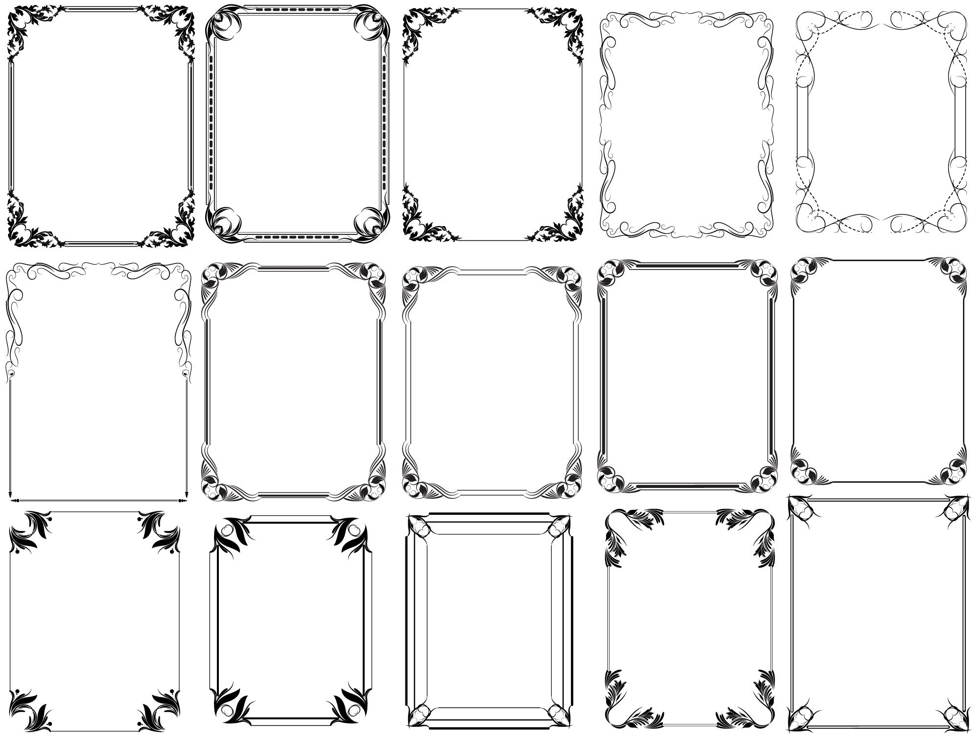 Vector Christmas Decoration Frames & Floral Elements ...