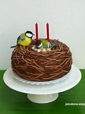 Love The Shape Of Cake With Two Darling Birds By Benja