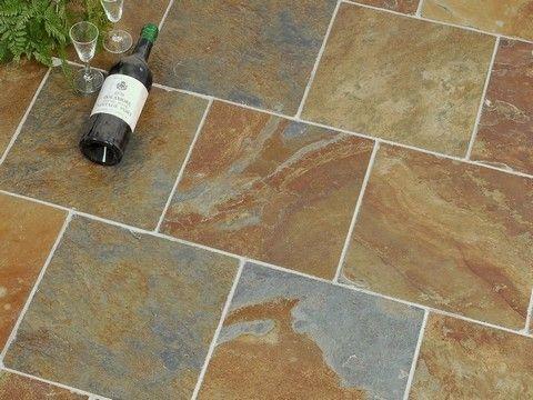 Slate Floor Tile Square Offset Kitchen Pinterest Slate