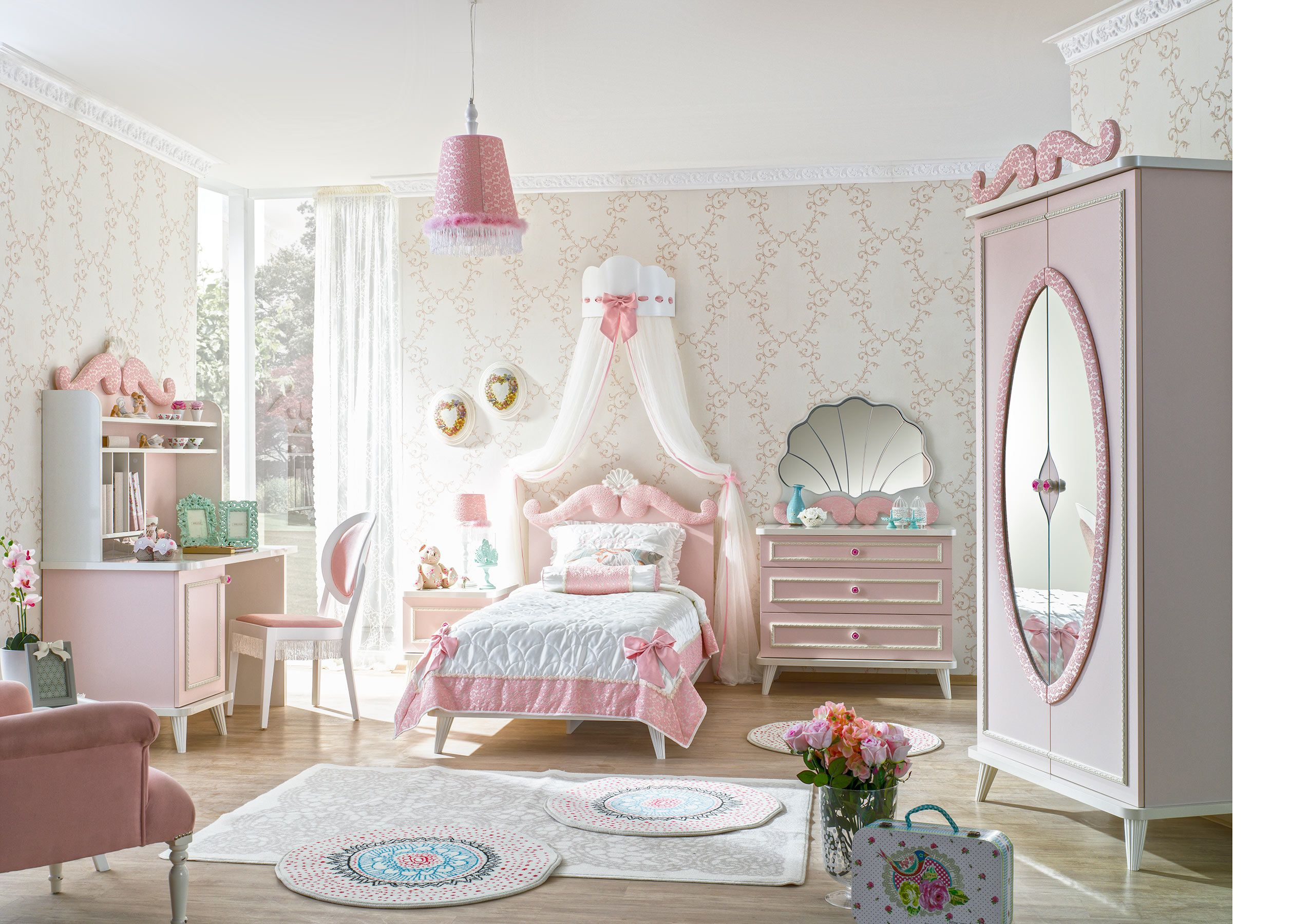 kinderzimmer m dchenzimmer rosa prinzessin fein. Black Bedroom Furniture Sets. Home Design Ideas