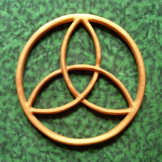 Trinity Knot Encircled Triquetra Wood Carved Celtic Knot By