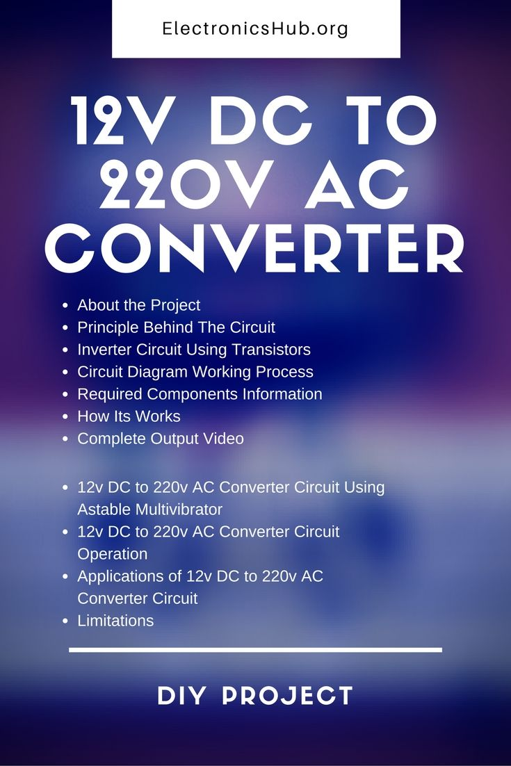 how to build a 12v dc to 220v ac converter diy project tested circuit  [ 735 x 1102 Pixel ]