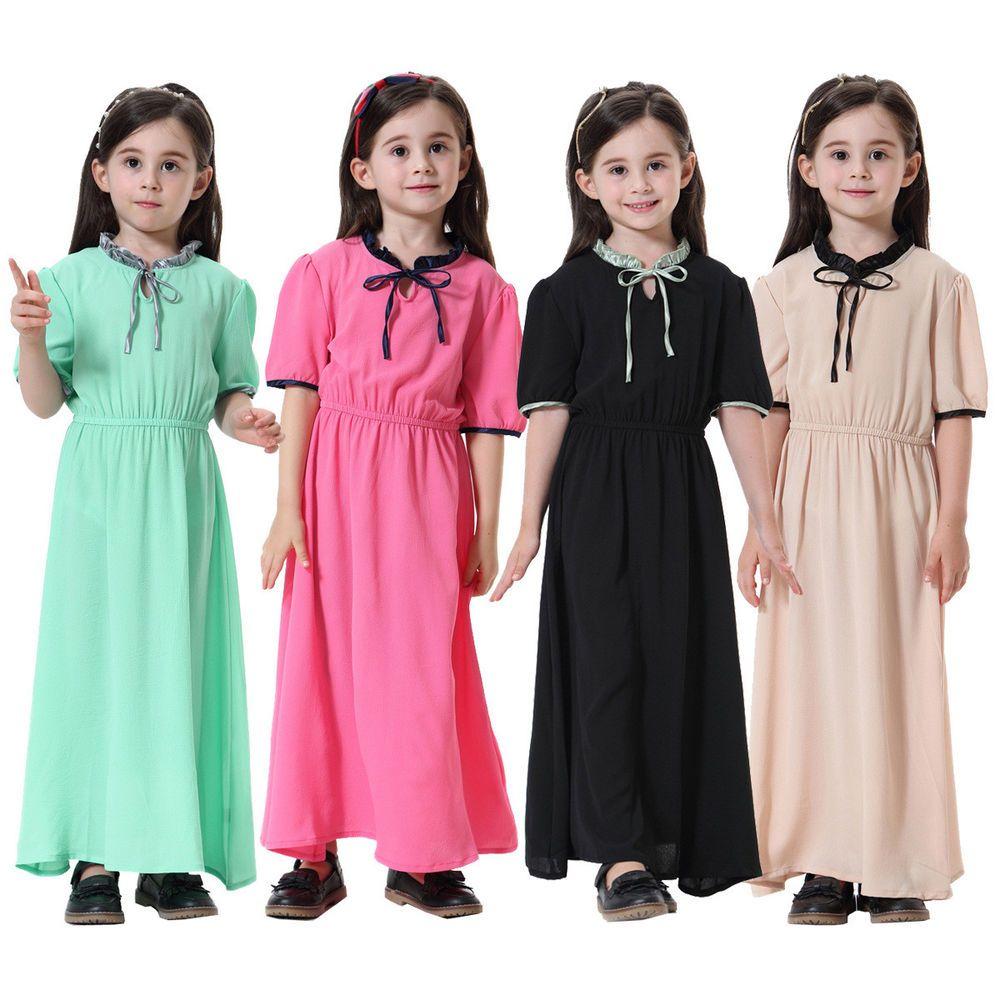 Muslim girls maxi dress dubai kaftan for kid short sleeve abaya